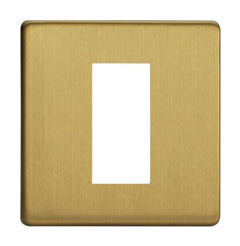 Varilight XDBG1S Screwless Brushed Brass DataGrid Plate (1 DataGrid Space)